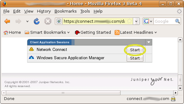 So, connect to your Juniper VPN server with FireFox and log into the VPN.